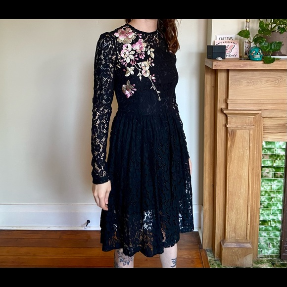 ASOS Dresses & Skirts - ASOS Black Lacey Dress with Embroidery